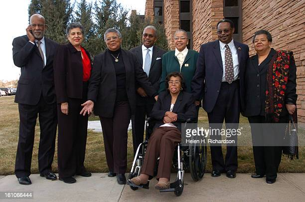 Eight of the nine members of the LIttle Rock Nine posed for photographers outside Congregation Emanuel before the interfaith service They are from...
