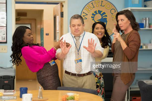 AP BIO 'Eight Pigs and a Rat' Episode 111 Pictured Lyric Lewis as Stef Patton Oswalt as Principal Durbin Mary Sohn as Mary Jean Villepique as Michelle