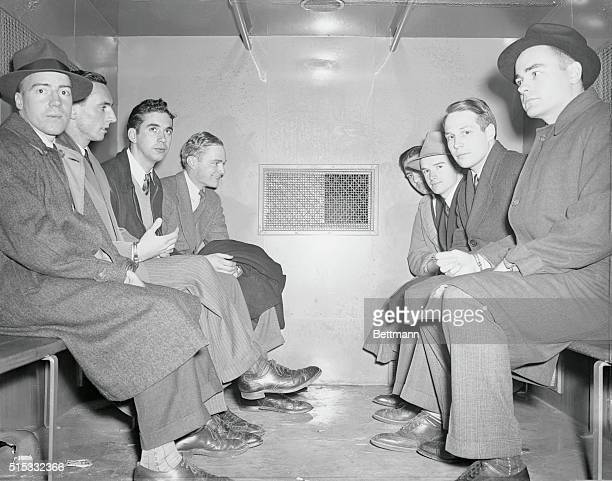 Eight university students of the Union Theological Seminary who refused to register for selective military service are shown in the 'black Maria'...