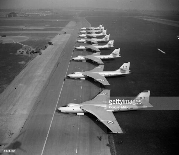 Eight Vickers Valiant 4jet bombers part of Britain's first atomic bomb squadron prepare for a training takeoff at the RAF airfield in Gaydon...