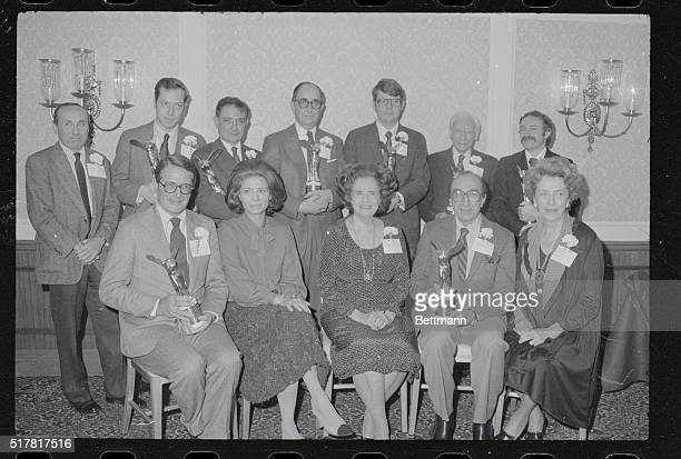 Eight winners of the 33rd annual Albert Lasker Awards and officials of the Albert and Mary Lasker Foundation pose together They are seated Elliot L...