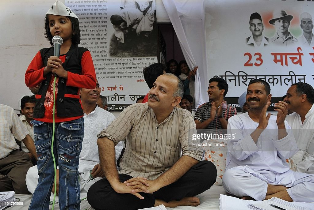 Eight year old Neeru take on one day fasting to support Aam Admi Party leader Arvind Kejriwal on the sixth day of his indefinite hunger protest against inflated electricity and water bills at Sundar Nagari on March 28, 2013 in New Delhi, India. Kejriwal's health is stabilized as of now with all the vital parameters within the normal range. However he has lost 6 kg since his fast begun on March 23.