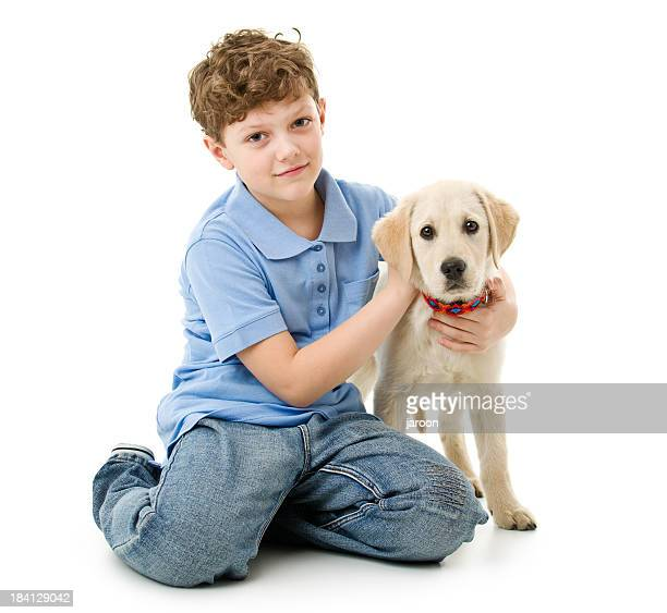 eight years old boy wit his dog - 8 9 years stock pictures, royalty-free photos & images