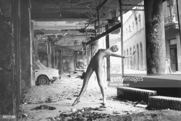 Eighteen year old ballet dancer Nina Brulic dancing in a devastated building at Sarajevo during civil war in Yugoslavia.