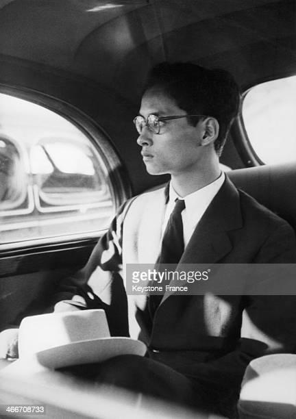 Eighteen year old king Bhumibol Adulyadej of Thailand, aka Rama IX, arrives in Geneva, Switzerland on August 24, 1946 - He will go to Pully where he...