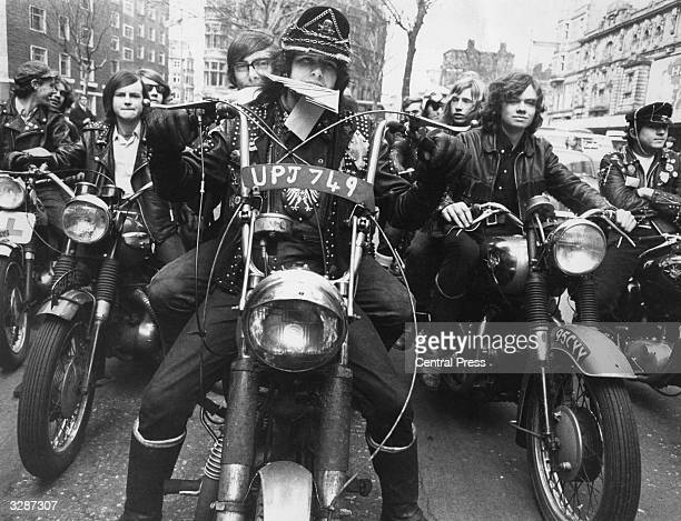 Eighteen year old Paul Wilkins from Kentish Town London president of the 'Devil's Henchmen' motorcycle gang whose members belong to the Islington...