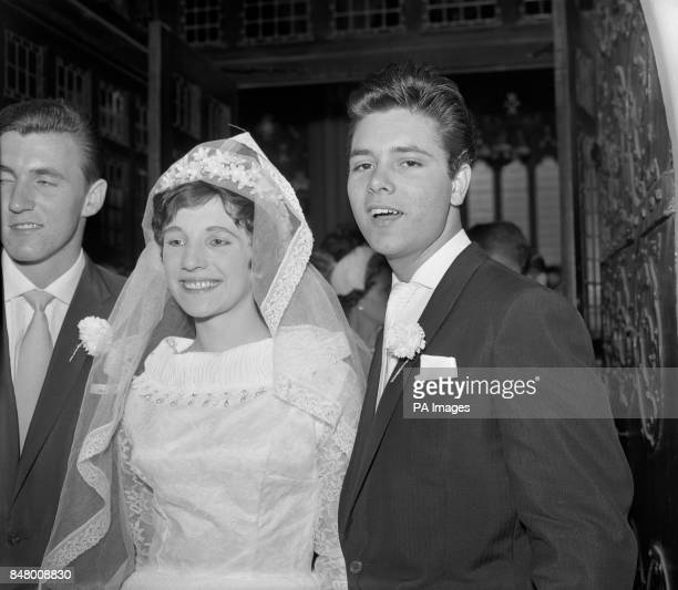 Eighteen year old singing star Cliff Richard at St Stephen's Church London where he was best man at the wedding of guitarist Bruce Welch left to Anne...