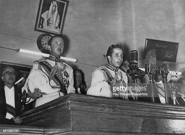 Eighteen yearold King Faisal II of Iraq takes the Constitutional Oath in a ceremony to install him as ruling monarch on his coming of age Baghdad...