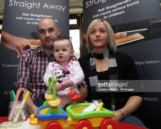 Eighteenmonthold Kayla Murray with her mum Michelle Murray and dad Paul McGee at Glasgow's Royal Hospital for Sick Children as they are backing a...
