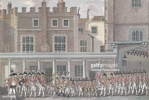 Eighteenth Century English Soldiers on Parade Outside St James' Palace