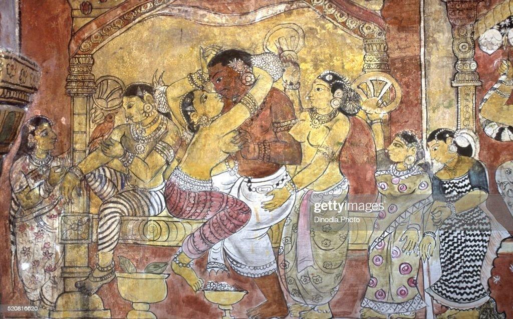 Eighteenth Century Erotic Mural In Ramalingavilasam