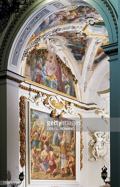Eighteenth century frescoes by Giacomo Serpotta, in the Chapel of the Marriage of the Virgin, Church of Santa Maria of the Angels known as La Gancia...