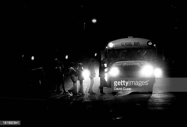 FEB 6 1974 FEB 7 1974 FEB 9 1974 Eighth and ninth graders board the bus at 7 am to head for Drake Junior High 12550 W 52nd Ave Dangers arisidaylight...