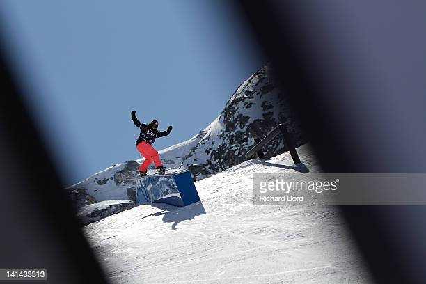 Eighth place winner Cheryl Maas from the Netherlands rides the Slopestyle during the Women's Snowboard Slopestyle Final of the Winter XGames Europe...