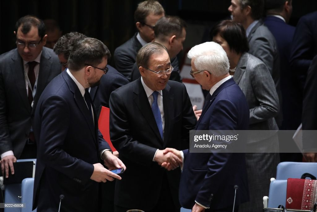 Eighth Secretary-General of the United Nations Ban Ki-mun (C) shakes hands with Polish Foreign Minister Jacek Czaputowicz (R) during the United Nations Security Council meeting in New York, United States on February 21, 2018.