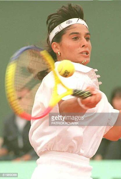 Eighth-seeded Argentinian Gabriela Sabatini hits a forehand to Japenese Kyoko Nagatsuka during their fourth-round match of the French Tennis Open...