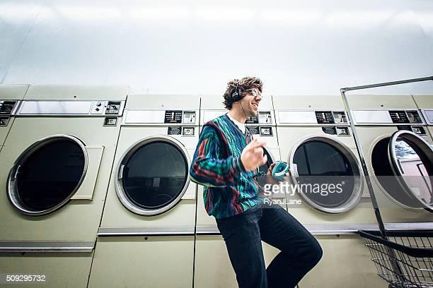 Eighties Man Dancing at Laundromat
