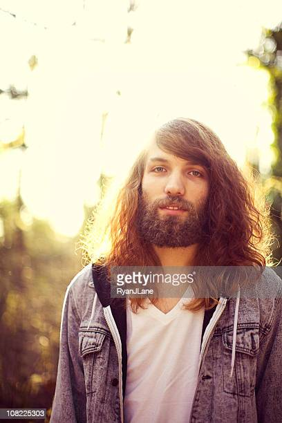 Eighties Smiling Young Man Portrait with Beard