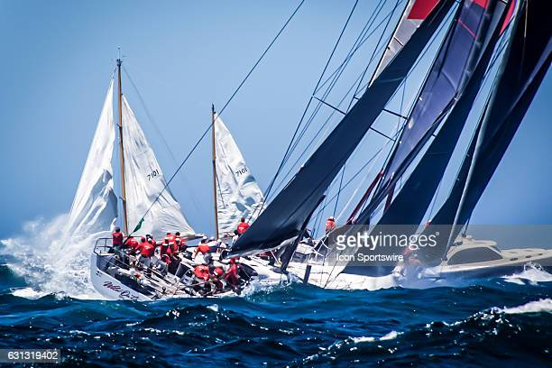 Eighttime line honours winner 'Wild Oats XI' skippered by Mark Richards' pictured in a heavy swell off North Head entering the Pacific Ocean...
