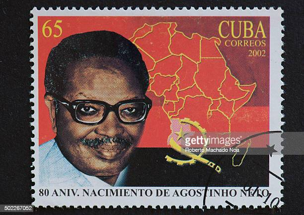 Eighty 80 Anniversary of Agostinho Neto birth 2002 vintage Cuban postage stamps collection Antonio Agostinho Neto served as the first President of...