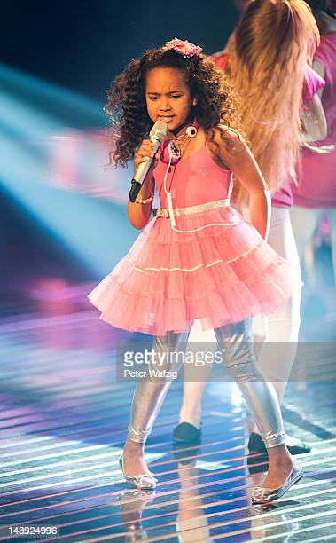 Eightyearold Alysha performs during DSDS Kids 1st Show at Coloneum on May 05 2012 in Cologne Germany