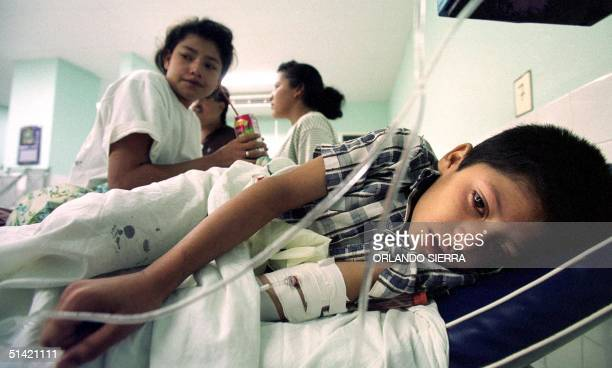 Eightyearold Jose Luis Flores lies in a bed in the pediatrics ward of the Materno Infantil Hospital in Tegucigalpa Honduras 11 October 2000 where 36...
