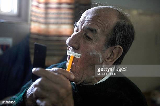 Eightytwoyearold Alfredo Maciel shaves just hours before getting married to seventysevenyearold Nilsa Noble at the public geriatric hospital Pieyro...