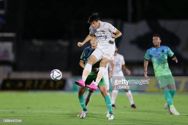 Eiichi KATAYAMA of Shimizu S-Pulse in action during the J.League Meiji Yasuda J1 match between Shonan Bellmare and Shimizu S-Pulse at the Lemon Gas...