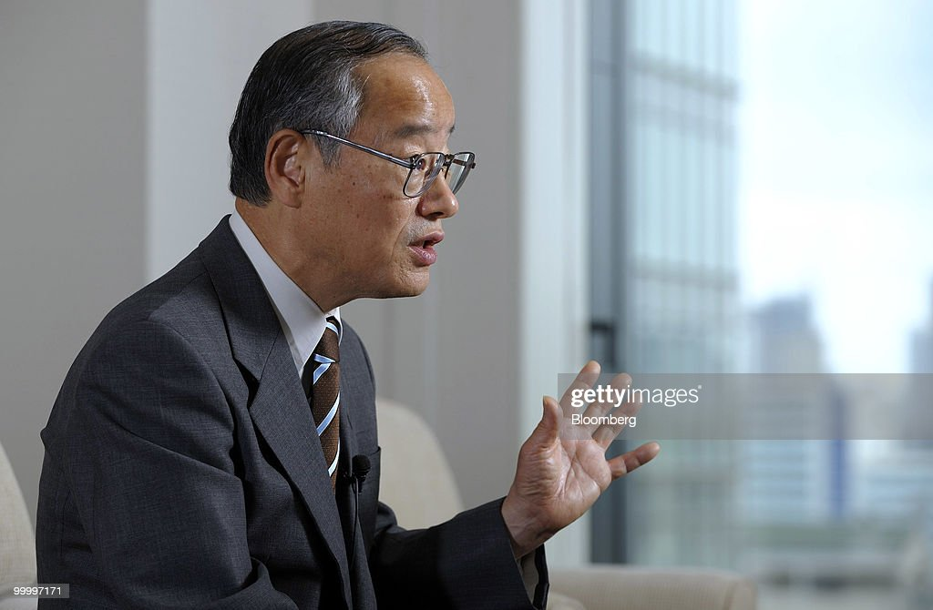 Eiji Hosoya, chairman of Resona Holdings Inc., speaks during an interview in Tokyo, Japan, on Wednesday, May 19, 2010. Resona Holdings Inc., Japan's fourth-largest bank, said it wants the government to sell part of 1.67 trillion yen ($18 billion) in preference shares it holds by November. Photographer: Akio Kon/Bloomberg via Getty Images