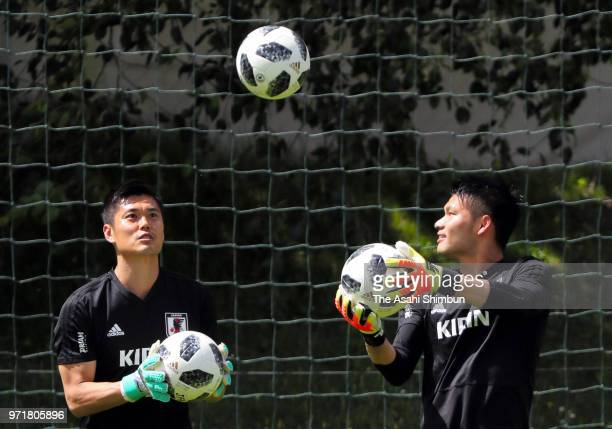 Eiji Kawashima and Kosuke Nakamura of Japan warms up during a training session on June 10 2018 in Seefeld Austria