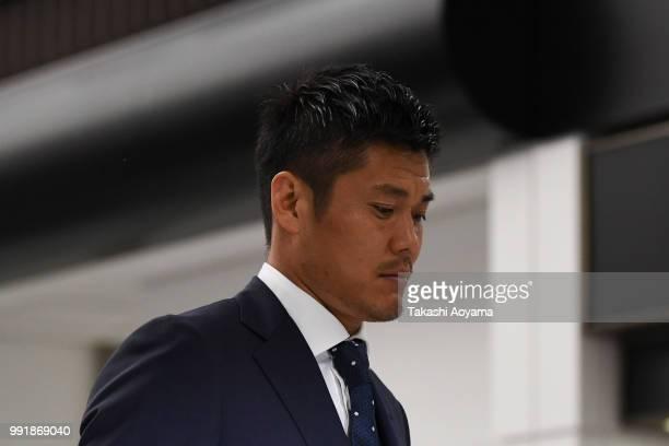 Eiji Kawashima is seen on arrival at Narita International Airport on July 5 2018 in Narita Narita Japan