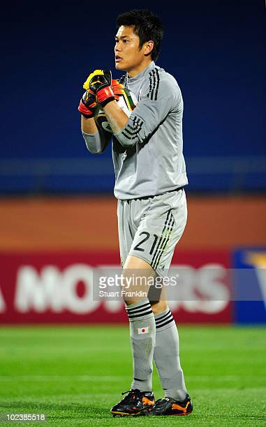 Eiji Kawashima of Japan in action during the 2010 FIFA World Cup South Africa Group E match between Denmark and Japan at the Royal Bafokeng Stadium...