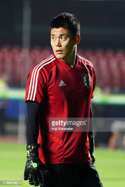 Eiji Kawashima of Japan looks on during a training session of the Copa America Brazil 2019 group C match against Chile at Morumbi Stadium on June 16...