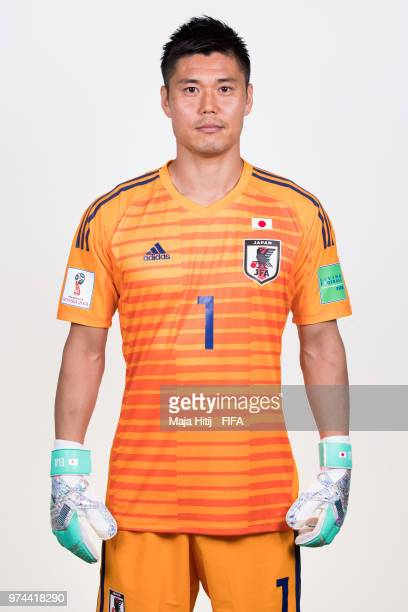 Eiji Kawashima of Japan poses for a portrait during the official FIFA World Cup 2018 portrait session at the FC Rubin Training Grounds on June 14...