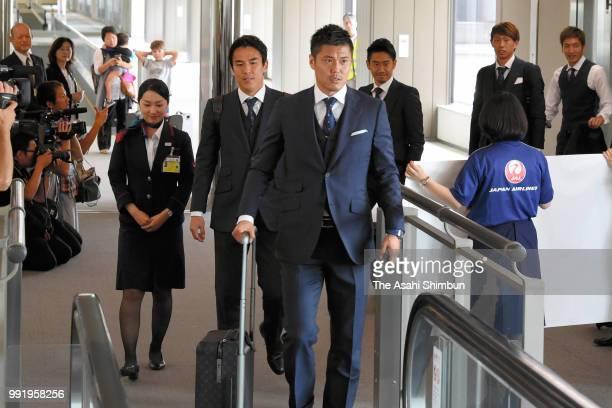Eiji Kawashima of Japan smiles on arrival at Narita International Airport after the FIFA World Cup on July 5 2018 in Narita Chiba Japan