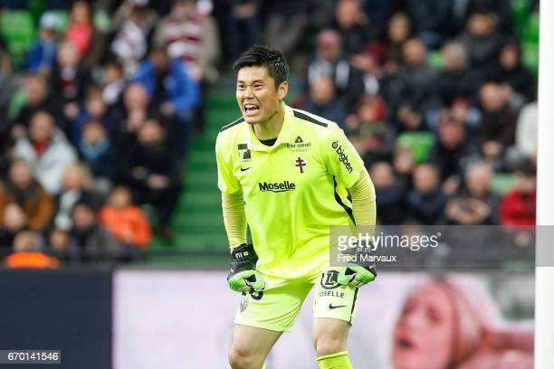 Eiji Kawashima of Metz during the Ligue 1 match between Fc Metz and Paris SaintGermain at Stade SaintSymphorien on April 18 2017 in Metz France