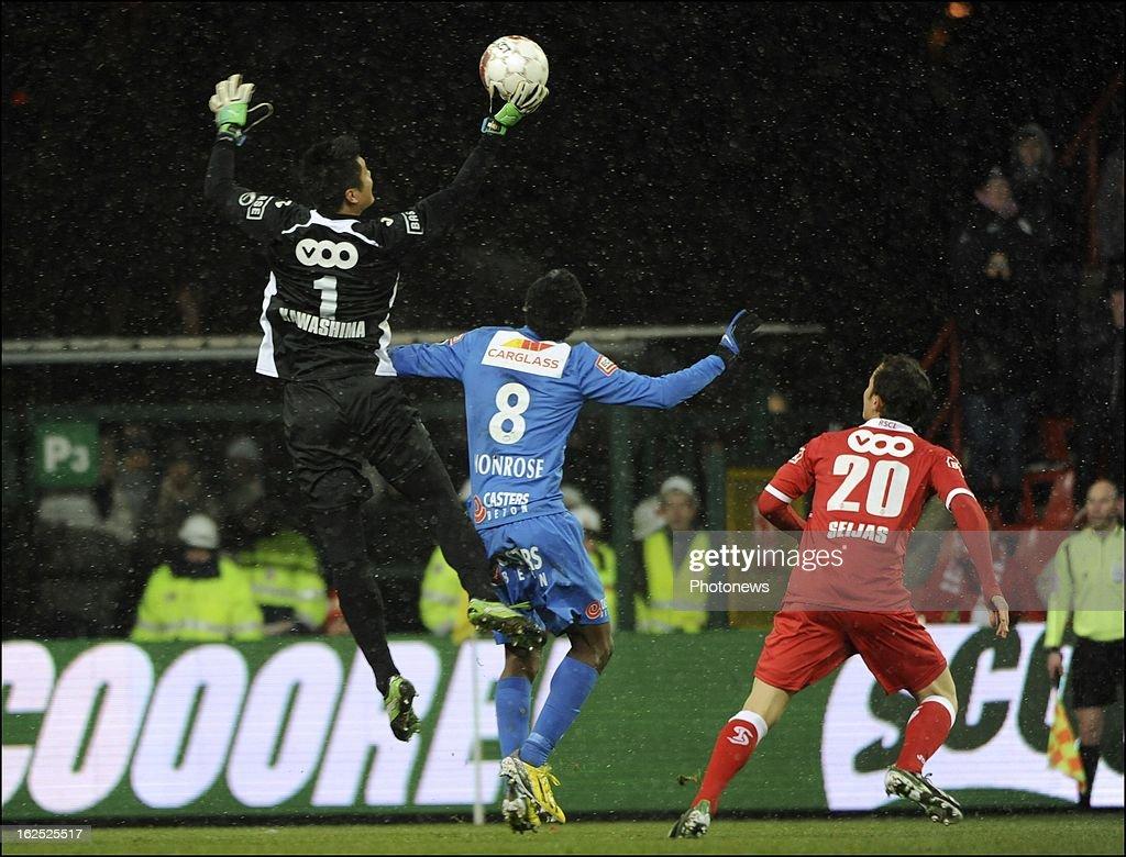 Eiji Kawashima of Standard Liege in action during the Jupiler League match between Standard de Liege and KRC Genk on February 24, 2013 in Liege, Belgium.