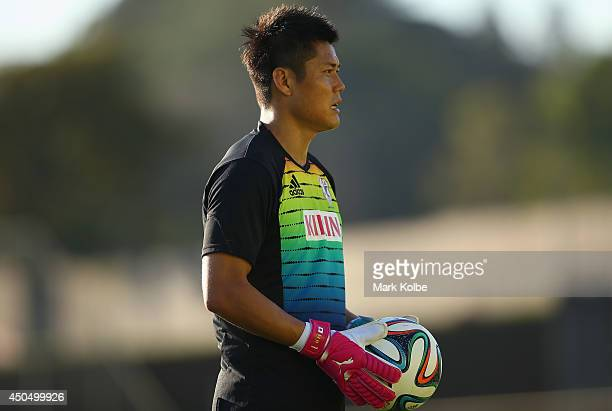 Eiji Kawashima watches on during a Japan training session at the Japan national team base camp at the Spa Sport Resort on June 12 2014 in Itu Sao...