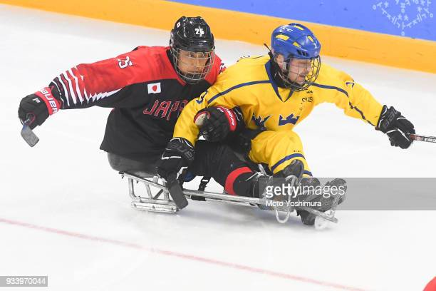 Eiji Misawa of Japan in action during the Ice Hockey Classification Game between Japan and Sweden on day seven of the PyeongChang 2018 Paralympic...
