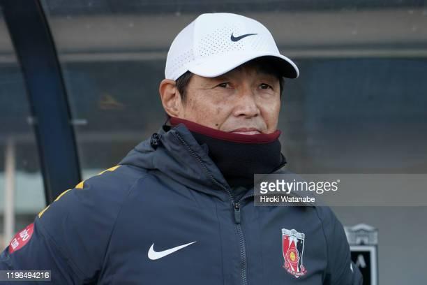 Eiji Mori,coach of Urawa Red Diamonds Ladies looks on prior to the Empress's Cup JFA 41st Japan Women's Football Championship final between Nippon TV...