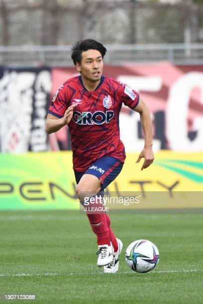 Eiji SHIRAI of Fagiano Okayama in action during the J.League Meiji Yasuda J2 match between Fagiano Okayama and SC Sagamihara at the City Light...