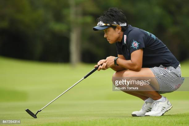 Eika Otake of Japan lines up her putt on the 18th hole during the final round of the LPGA Legends Champioship KRY Cup at Shunan Country Club on...