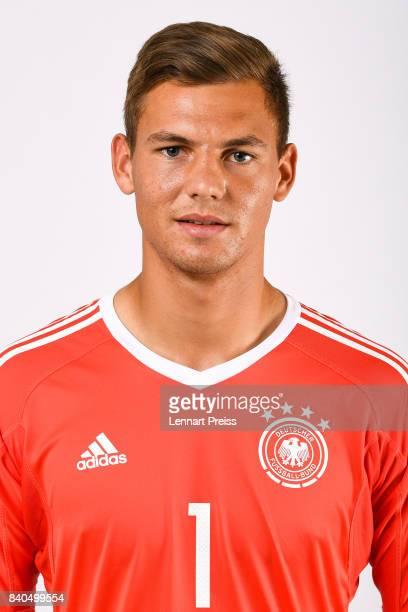 Eike Bansen poses during the team presentation of the German U20 national football team on August 29 2017 in Herzogenaurach Germany