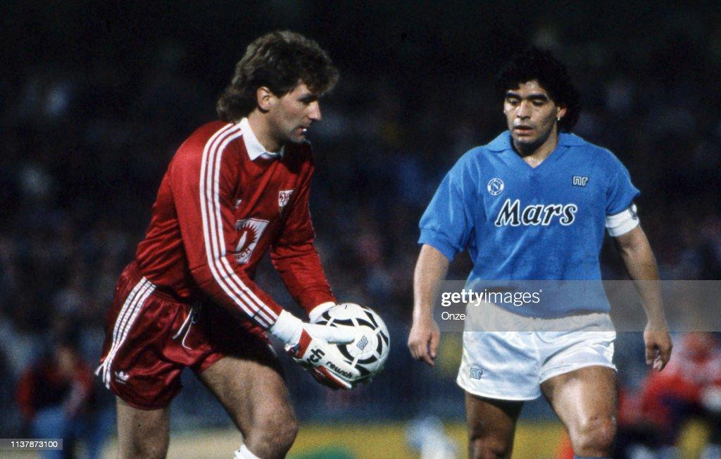 Eike Immel Of Stuttgart And Diego Armando Maradona Of Napoli During News Photo Getty Images