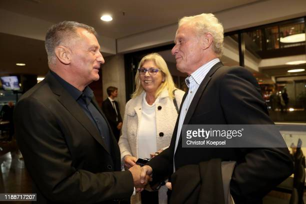 Eike Immel, Petra Briegel and Hans-Peter Briegel attend the Club Of Former National Players Meeting at Commerzbank Arena on November 19, 2019 in...