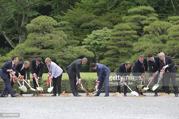 Eikei Suzuki governor of Mie Prefecture European Council President Donald Tusk Italian Prime Minister Matteo Renzi German Chancellor Angela Merkel US...