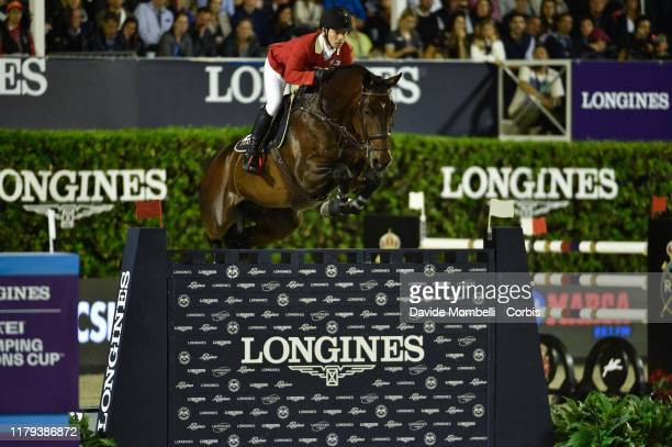 Eiken Sato riding Chacanno of Japan during Longines FEI Jumping Nations Cup Final Challenge Cup on October 5 2019 in Barcelona Spain