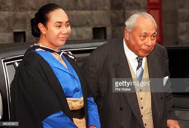 Eiki Salote Lupepau'u Salamasina Pulea Vahine Ariioehau Tuita with her grandfather His Majesty King Taufa'Ahau Tupou IV of Tonga following her...