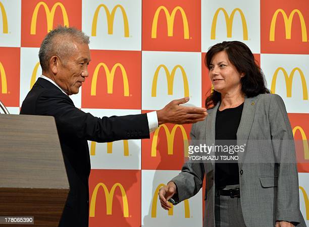 Eiko Harada fastfood giant McDonald's Japan president and chairman introduces the company's new president and CEO Sarah Casanova at a press...