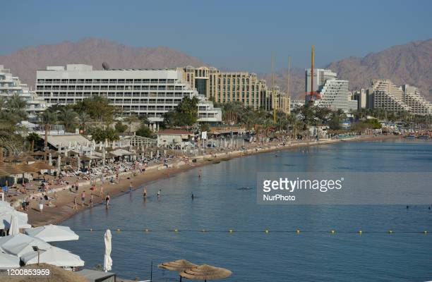 Eilat beach in the winter. On Monday, February 3 in Eilat, Israel.